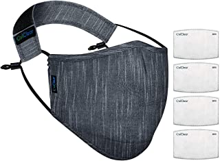 OxiClear N99 Handloom Linen Anti-Pollution Face Mask with 4 Activate Carbon Filters & Detachable Headband DRDO Certified