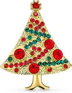 Bling Jewelry Cristallo Bianco Rosso Verde Moda Istruzione Grande Albero di Natale Decorato Spilla Pin per Donne Placcato ...