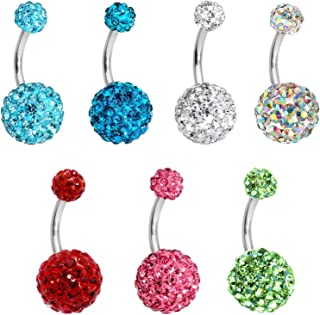 7 Pieces Sparkly Crystal Belly Ring Body Piecing Jewelry Multi Color Navel Belly Button Ring