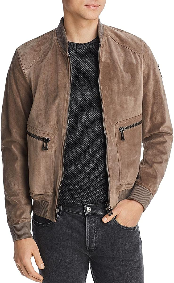 Belstaff Mens Winswell Faux Leather Cold Weather Bomber Jacket