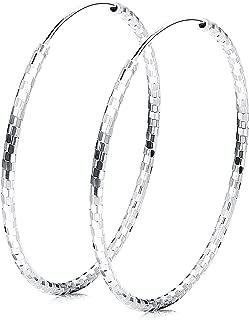 925 Sterling Silver Endless Large Hoop Earrings for Women Round Diamond-Cut Hoop Earrings Hypoallergenic