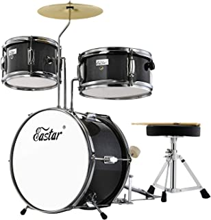Eastar 14 inch Kids Drum Set 3 Pieces with Throne, Cymbal, Pedal & Drumsticks,Metallic Black (EDS-180B)