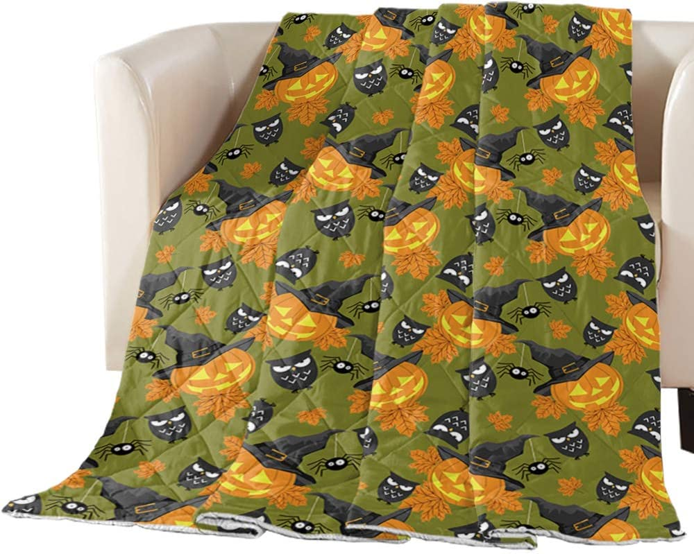 Fantasy Staring Quilted Throw Blanket- Halloween a Pumpkin New mail order San Antonio Mall Happy