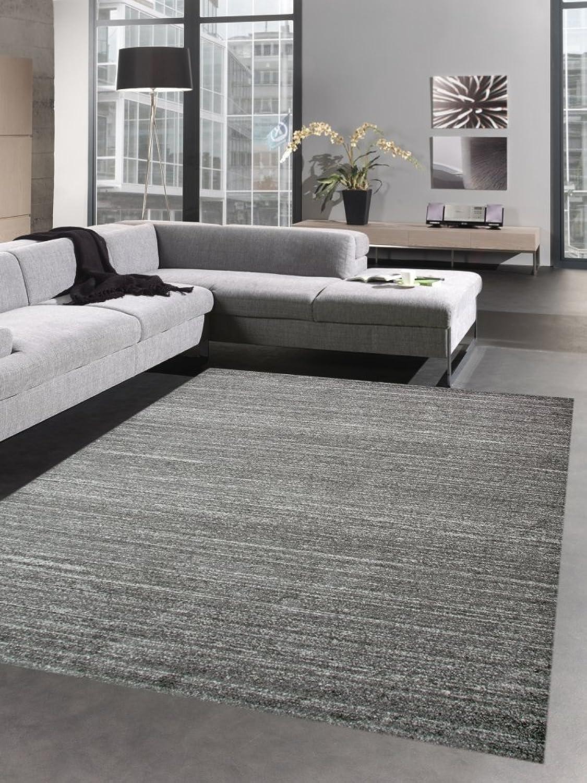 Carpetia Moderner Teppich Wohnzimmerteppich Kurzflor Uni anthrazit grau meliert Gre 160x230 cm