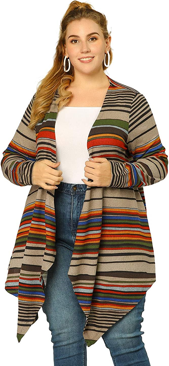 Agnes Orinda Women's Plus Size Cardigans Kimonos Color Block Boho Striped Open Front Cardigan Valentine's Day