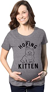 Maternity Hoping It's A Kitten Tshirt Funny Pet Cat Lover Pregnancy Tee