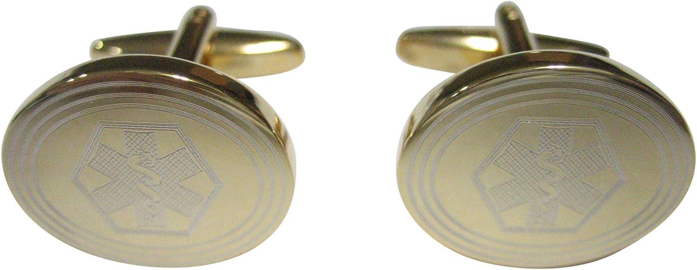 Kiola Designs Gold Toned Etched Oval Paramedic Star of Life Symbol Cufflinks