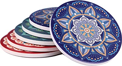 Absorbent Drink Coasters Set of 6 - Funny Mandala Bohemian Style Stone Coasters Mat with Cork Base, Prevent Furniture from Dirty and Scratched, Ceramic Vintage Desk Coasters for Kinds of Mugs and Cups
