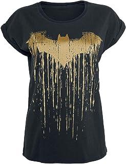 Batman Logo Dripping Mujer Camiseta Negro, Ancho