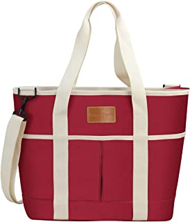 HappyPicnic 16L Large Insulated Bag | 25CAN Waterproof Cooler Carrier Bag| Thermal Picnic Tote | Lunch Bags Outdoor Camping,Beach Day Travel | Collapsible Grocery Shopping Storage Bag-Burgundy