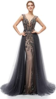 Clearbridal Women's Mermaid Prom Dress with Beads Long Formal Evening Gown