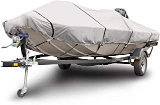 Budge 600 Denier Boat Cover fits Center Console Flat Front/ Skiff / Deck Boats B-641-X8 (24' to 26' Long, Gray)