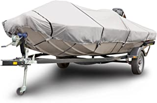 Budge 600 Denier Boat Cover fits Center Console Flat Front/Skiff/Deck Boats B-641-X6 (20' to 22' Long, Gray)