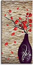Canvas Wall Art for The End of Corridor, PIY Vertical Red Leaves Vase Picture with Brick Background, Modern Prints Artwork Aisle Decor (1
