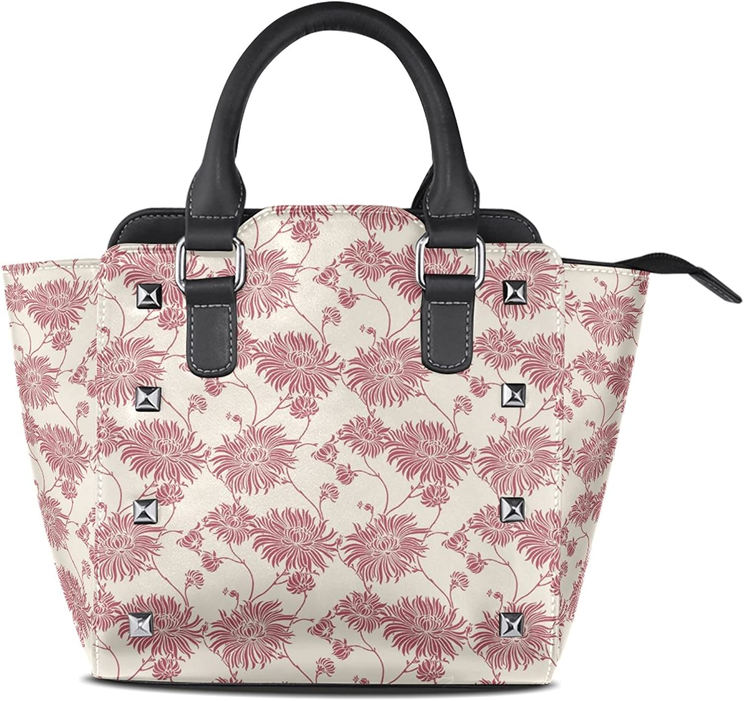 Sunlome Linen Floral Print Women's Leather Tote Shoulder Bags Handbags