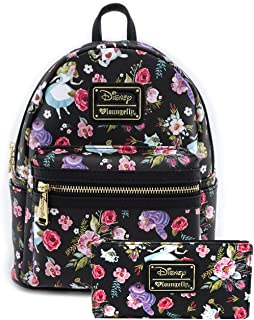 Loungefly Disney Alice Floral Print Mini Backpack and Wallet Set (Black)