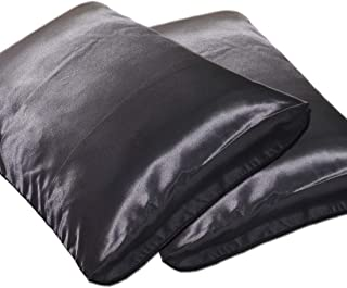 DEHMAN Satin 400 TC Pillow Cover (Standard_Black)