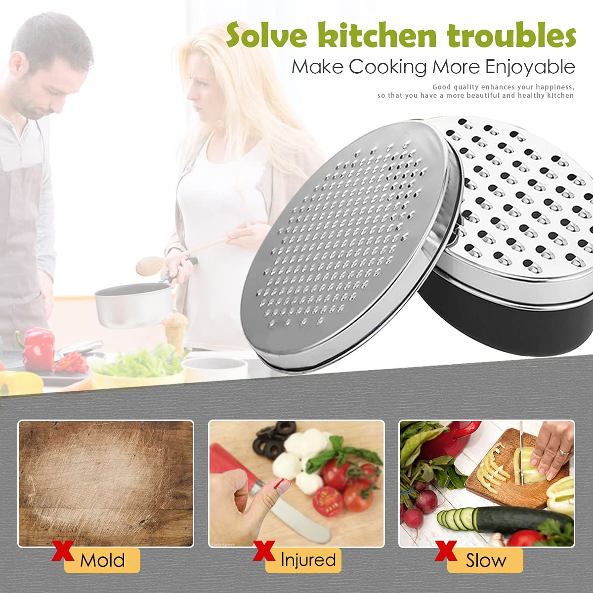 Cheese Graters Perfect for Hard Parmesan or Soft Cheddar Cheeses Chocolate HOMPO Cheese Grater with Container and Lid Vegetables etc