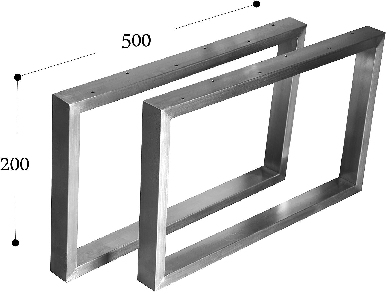 CHYRKA Kufengestell Tischgestell Edelstahl 201 40x20-200 Rahmentisch Tischkufe Tischuntergestell (200x500 cm - 1 Paar)