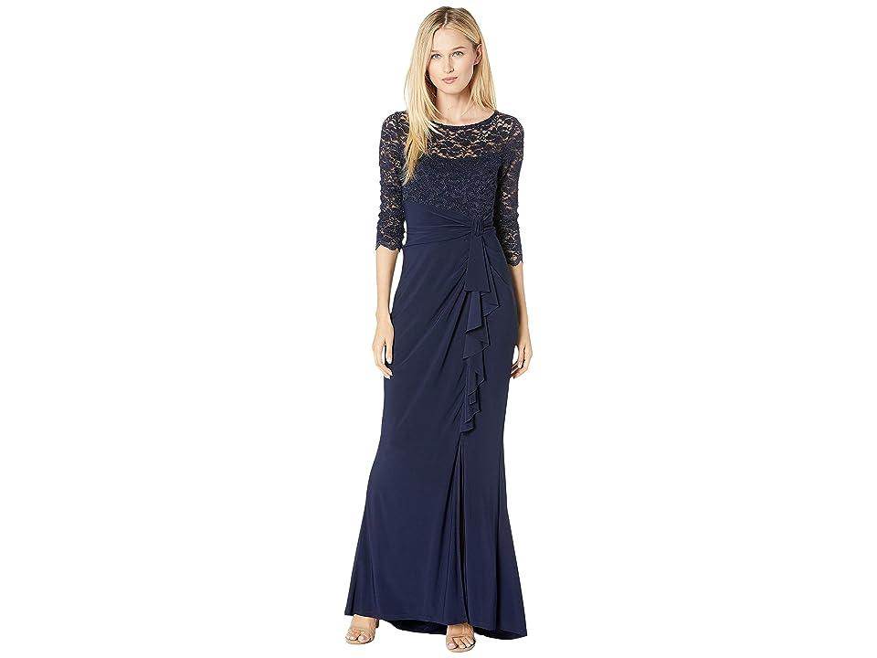 MARINA Long Slim 3/4 Sleeve Dress with Cascade Ruffle (Navy) Women