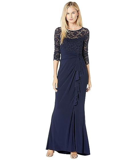 MARINA Long Slim 3/4 Sleeve Dress With Cascade Ruffle, Navy