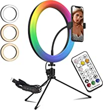 "10.2"" LED Selfie Ring Light / 30 Colors RGB Light Modes/with Light Remote Controller/with Tripod Stand & Phone Holder/Desk..."