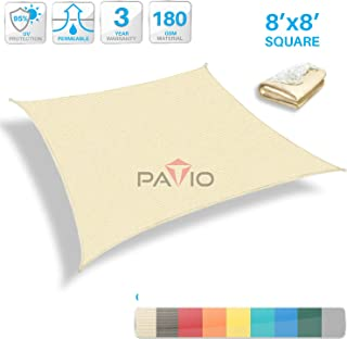 Patio Paradise 8' x 8' Tan Beige Sun Shade Sail Square Canopy - Permeable UV Block Fabric Durable Outdoor - Customized Available