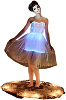 Fiber Optic Strapless Wedding Bridesmaid Lace Dress Glow in The Dark Backless Party Dress Dance Wear