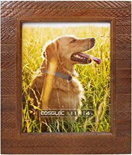 Eosglac 11x14 Picture Frame Rustic Brown, Handmade Wood Plank Design, Photo Frames Wall Mounting Display