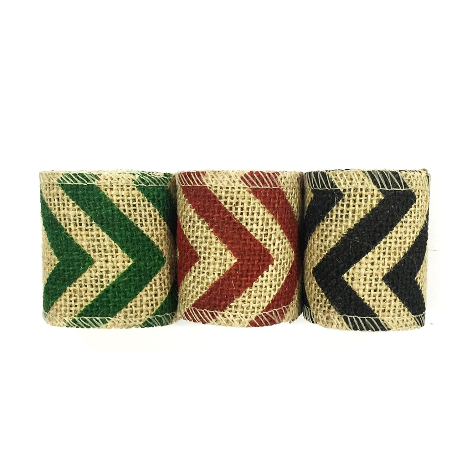 Wrapables Chevron Burlap Ribbon 2.5 Inch Width x 2 Yards Length (Set of 3), Black/Red/Green
