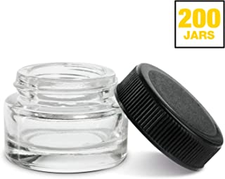 (200 Pack) 5ml Thick Glass Containers with Black Lids - Concentrate Jars for Oil, Lip Balm, Wax, Cosmetics