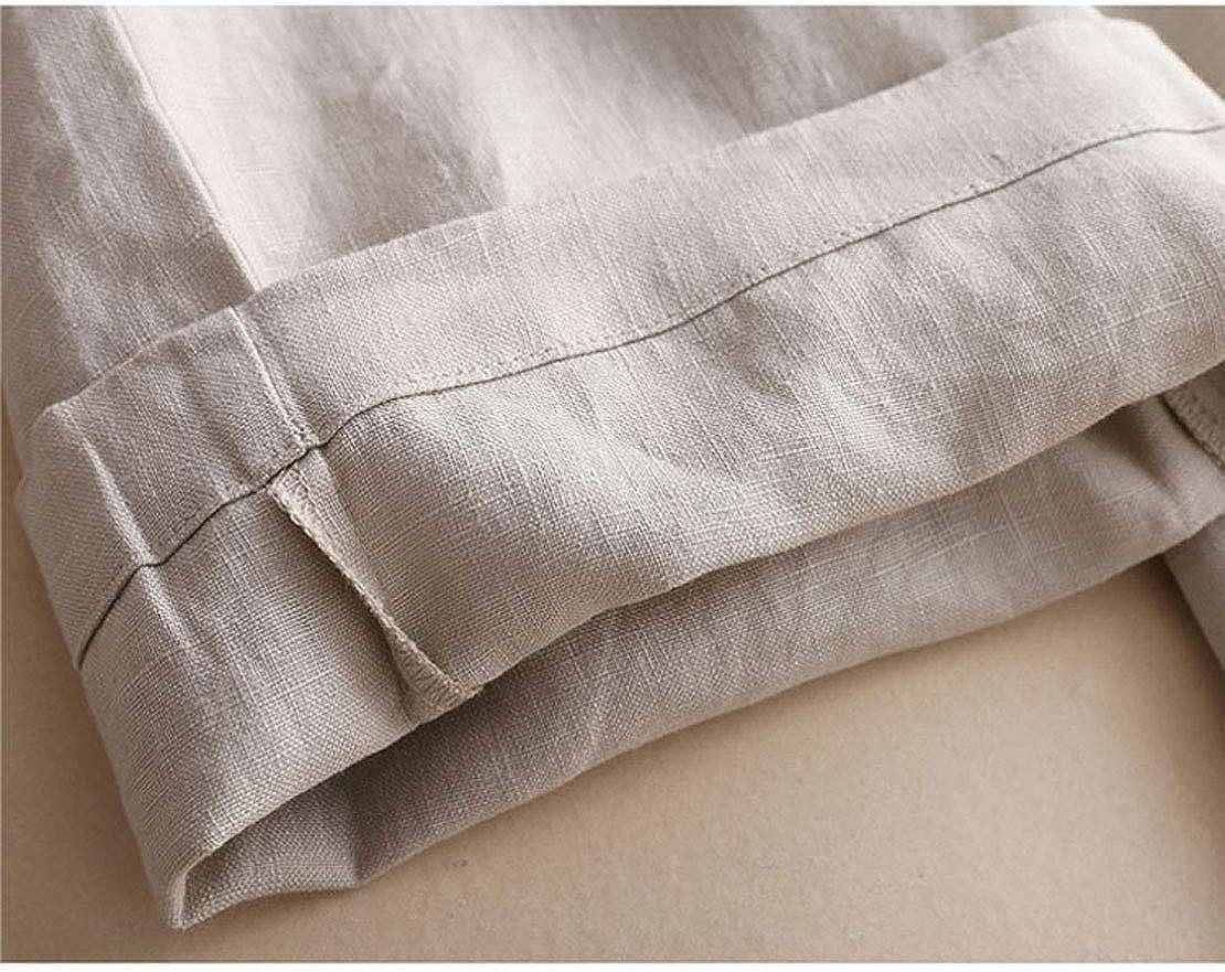 utcoco Womens Summer Slim Fit Elastic Waist Drawstring Tapered Leg 100% Linen Pants Slacks