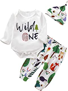 Shalofer Baby Boys Wild One Outfit First Birthday Animals Clothes Set