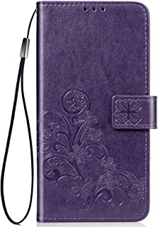 Apple Leather Case for iPhone XIR, Four-Leaf Clasp Embossed Buckle Mobile Phone Protection Leather Case with Lanyard & Car...