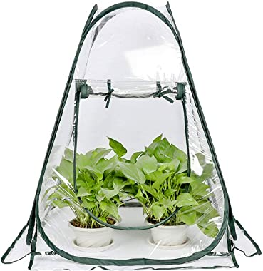 Mini Small Greenhouse for Plant Outdoors Indoor, Pop Up Portable Grow Greenhouse Tent Flower House Gardening Backyard (28&#34