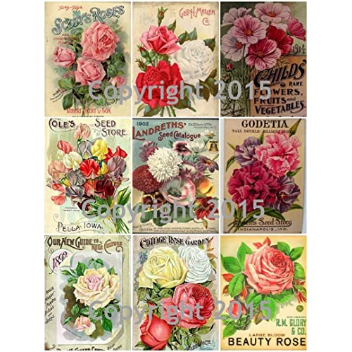 Vintage Victorian Fans and Flowers Collage Sheet Art Images for Decoupage Scrapbooking Jewelry Making