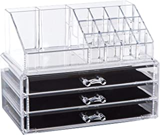 Clear Acrylic Cosmetic Organizer Makeup Holder Display Jewelry Storage Case 4 Drawer For Lipstick Liner Brush Holder-mzp00003