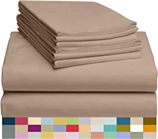 """Best LuxClub 6 PC Sheet Set Bamboo Sheets Deep Pockets 18"""" Eco Friendly Wrinkle Free Sheets Machine Washable Hotel Bedding Silky Soft - Light Khaki Queen Reviews"""