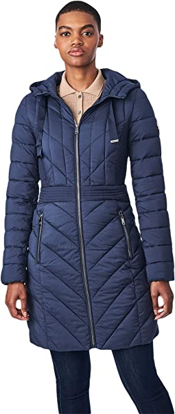 EcoPlume Soft Touch Walker Packable Puffer Jacket with Ribbon Detail