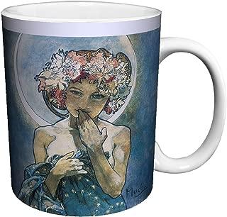 Alphonse Mucha Moon Fine Art Nouveau Ceramic Gift Coffee (Tea, Cocoa) 11 Oz. Mug