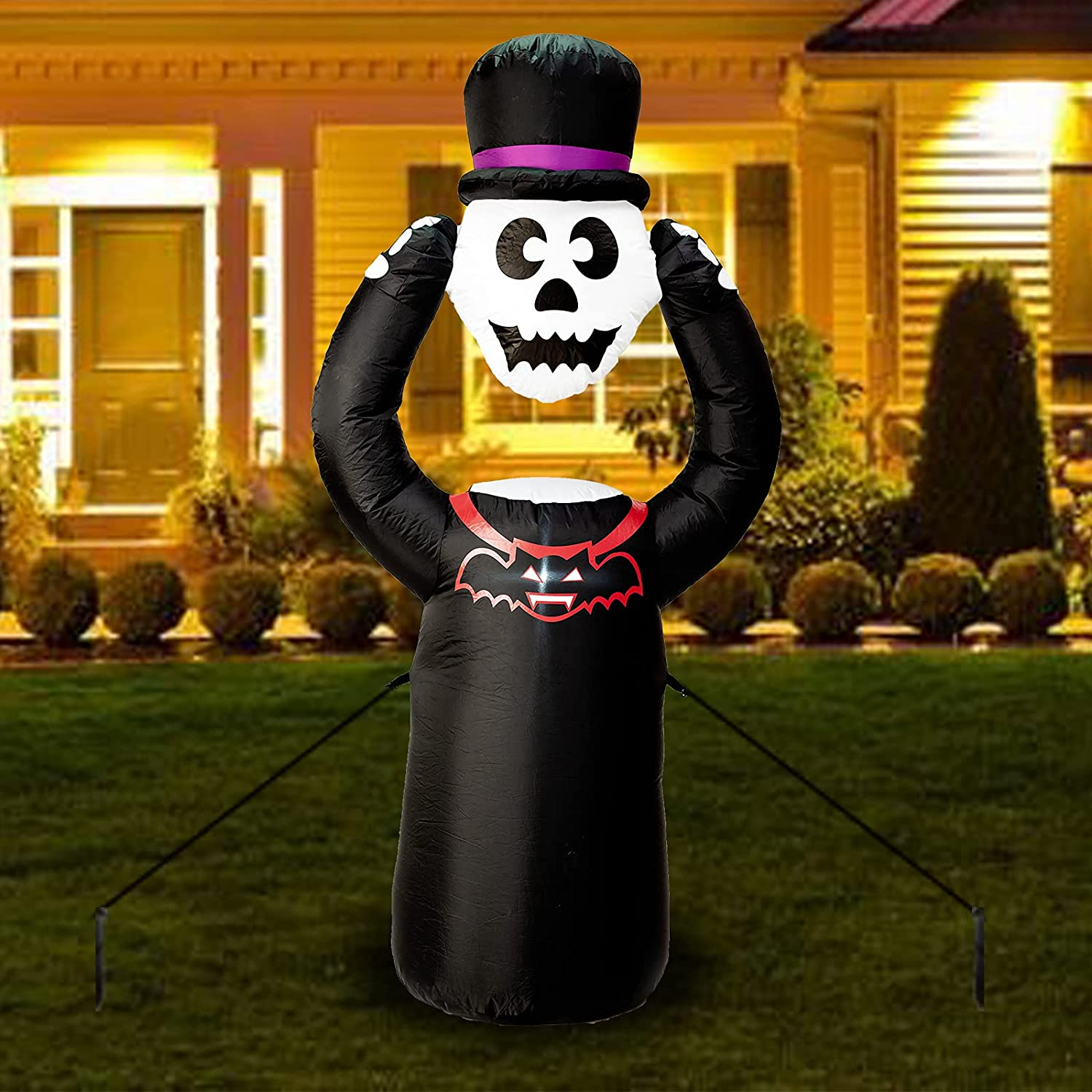 6FT High Halloween Max 40% OFF Price reduction Inflatables Skull Built-in LED Lights Ha with
