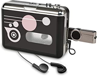 Cassette Player USB Cassette to MP3 Converter, Portable Cassette Audio Music Player Tape-to-MP3 Converter and Cassette Rec...