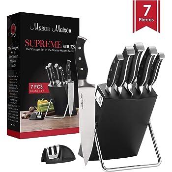 7-Piece Premium Kitchen Knife Set With Wooden Block   Master Maison German Stainless Steel Cutlery With Knife Sharpener (Black)