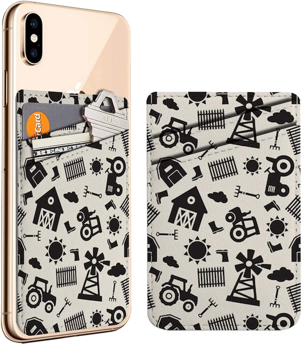 Monochrome Farm Cell Phone Stick On Credit Hol ID Card Max 57% OFF Leather 100% quality warranty