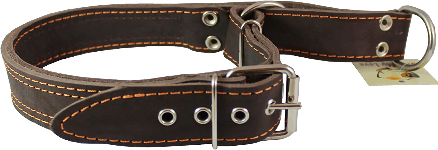 Martingale High Quality Genuine Brown Double Ply Leather Dog Collar Choker Large Fits 19 22.5  Neck.
