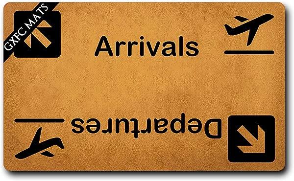 GXFC Welcome Mat With Rubber Back Arrivals Departures Cute Airplane Door MatsFunny Doormat For Entrance Way Monogram Mats For Front Door Mat No Slip Kitchen Rugs And Mats 30 L X 18 W