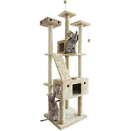 Furhaven Pet Cat Tree | Tiger Tough Cat Tree House Condominio gancho, Mueble para patio de juegos para gatos – Disponible en varios colores y estilos, Patio de juegos de dos pisos con caja ocupada, Parque de juegos de doble cubierta con caja ocupada (crema), Double Decker