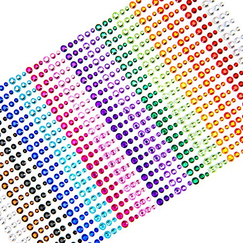 Face Gems, UnityStar 900 PCS Self-Adhesive Rhinestone Stickers Sheets Embellishments for Halloween Christmas Crafts Body Nail Makeup Festival Carnival 3, 4 or 5mm with 15 Colors