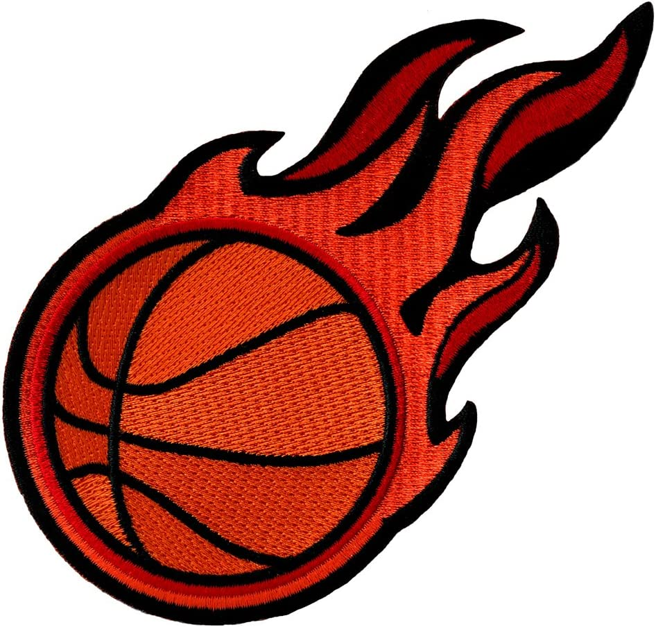Flaming Basketball Indefinitely Patch Embroidered Iron-On SEAL limited product Sports Applique Emb