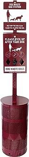 Midlee Dog Waste Station Set- Dispenser, Sign, Pole, Garbage Can & Bags